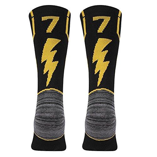KitNSox - Calcetines de media pantorrilla para adultos, color dorado y negro - FCA77M, Medium Youth Teens(Shoe Size: 6-9), Número de equipo 77 negro y dorado