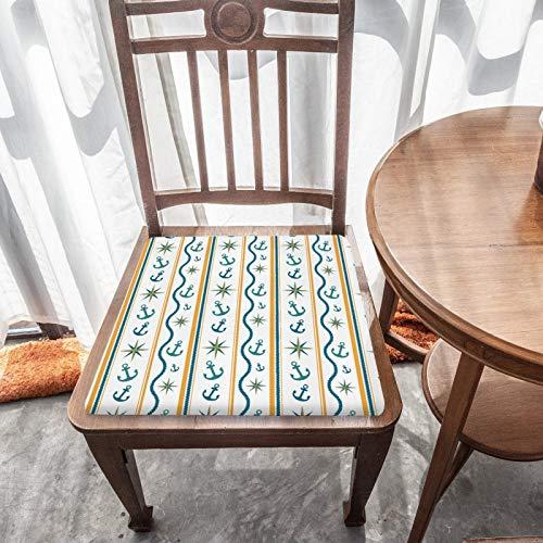 Cojín de asiento de espuma viscoelástica, estampado de rayas marineras, tela duradera, cojín cuadrado universal, cubierta de silla para decoración del hogar