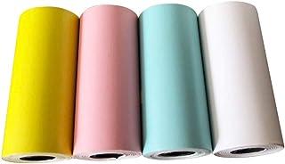 感熱ステッカー印刷用紙 - ステッカー感熱紙 - 4本のりの請求書の領収書カラフルな自己接着耐久性のある印刷可能なステッカーロール - のためのPaperangプリンター、小型POS機用 - 57x25mm(4pcs,混色)