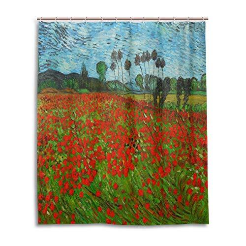 Emoya Duschvorhang Van Gogh Mohnblumenfeld, wasserdicht, schimmelresistent, waschbar, Polyester, mit 12 Haken, 150 x 180 cm