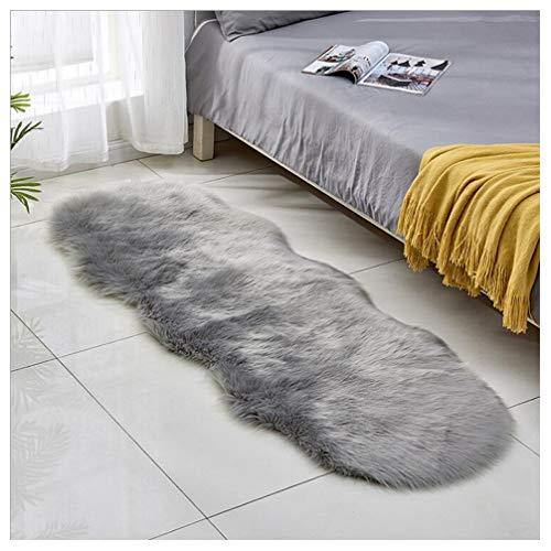 JXLOULAN Spitzenqualität Lammfellimitat Teppich, 60 x 160 cm Lammfellimitat Teppich Longhair Fell Nachahmung Wolle Bettvorleger Sofa Matte (Grau)