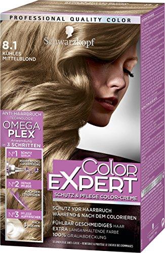 Schwarzkopf Color Expert Intensiv-Pflege Color-Creme, 8.1 Kühl Mittelblond Stufe 3, 3er Pack (3 x 167 ml)