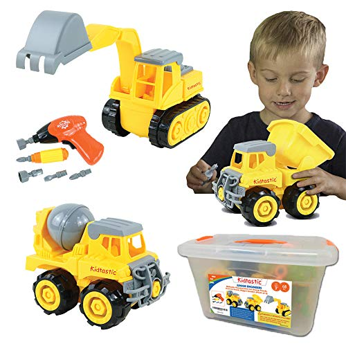 Kidtastic Construction Vehicles, STEM Learning Take Apart Fun Pack of 3, Dump Truck, Cement Truck and Digger with Tools and Electric Drill for Boys & Girls Ages 3-6 Years Old