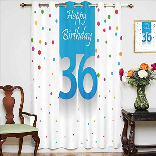 36th Birthday Decorations Shading Curtains Happy Birthday Quote on Blue Backdrop with Colorful Polka Dots Grommets Panels Printed Curtains,Single Panel 52x84 inch,for Kid's RoomMulticolor