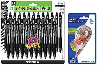 Zebra Pen Z-Grip Retractable Ballpoint Pen, Medium Point, 1.0mm, Black Ink, 24 Pack | Jumbo Correction Tape