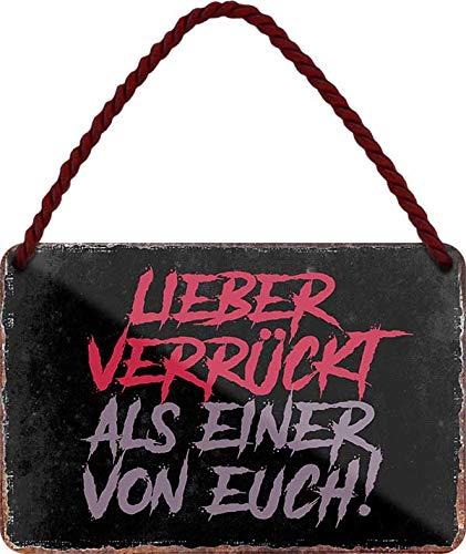 """Blechschilder Lustiger Spruch: """"Lieber Verrückt als Einer von euch!"""" Deko Hängeschild Humor Tür Schild Hauseingang Eingang Witziges Geschenk zum Geburtstag oder Weihnachten 18x12 cm"""