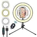 10.2'' Ring Light, HOVVIDA 26cm Luce ad Anello LED da Telefono con Supporto per Smartphone, Telecomando, 3 Colori, 10 Luminosità per TikTok, Video, Selfie, ecc.