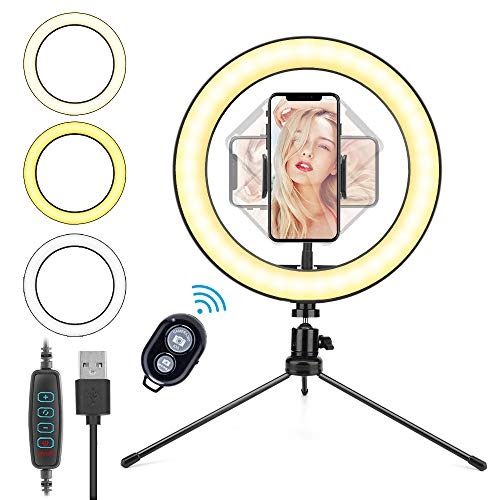 10.2'' Ring Light, HOVVIDA 26cm Luce ad Anello LED da Telefono con Supporto per Smartphone, Telecomando, 3 Colori, 10 Luminosità per TikTok, Video, Selfie, ecc.