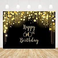 ZPCハッピー60歳の誕生日の背景ブラックとゴールド60誕生日の背景7x5ft光沢のある60歳の誕生日の背景の女性男性60歳の誕生日の装飾60歳の誕生日の写真