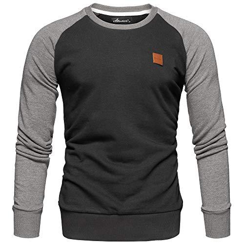 Amaci&Sons Herren Basic College Sweatjacke Pullover Hoodie Sweatshirt 4050 Schwarz/Anthrazit L