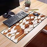 Comfortable Mouse Pad 60x35 cm,Decoración geométrica, figuras cuadradas rústicas de madera na,Impermeable con Base de Goma Antideslizante,Special-Textured Superficie para Gamers Ordenador, PC y Laptop