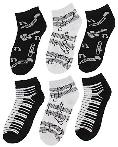 Notas musicales negras y blancas, teclas de piano, instrumentos de corte bajo, 6 pr)