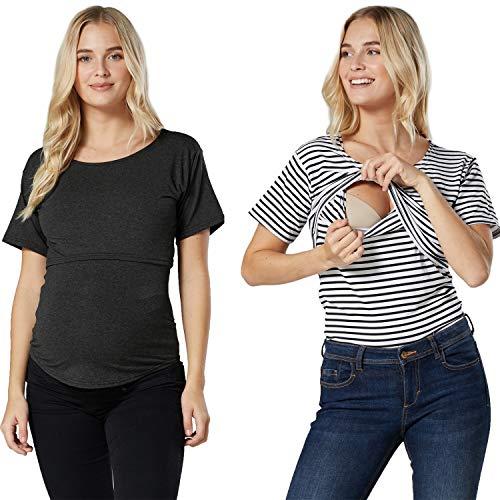 Zeta Ville 2 pack: Kvinnor amningskläder t-shirt dubbelskiktat set 1308