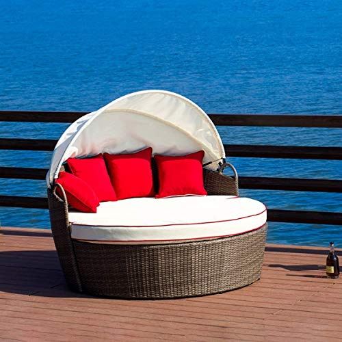 LOKATSE HOME Patio Round Daybed with Retractable Canopy Outdoor Wicker Rattan Furniture Sofa All-Weather Separated Seating with Washable, Beige with red Cushions