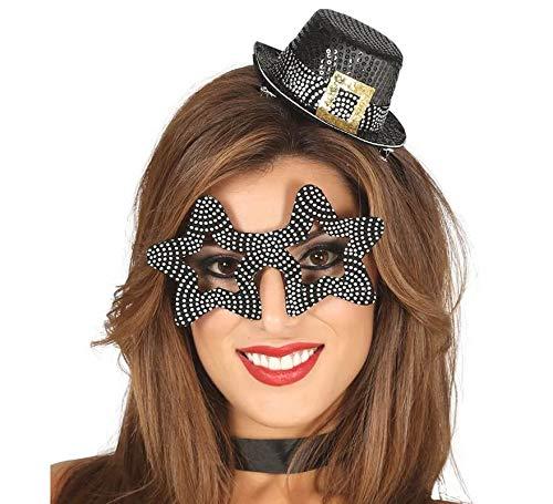 Guirca Set met hoedje en klok sterrenbril glitter zilver dames heren oudejaarsavond party