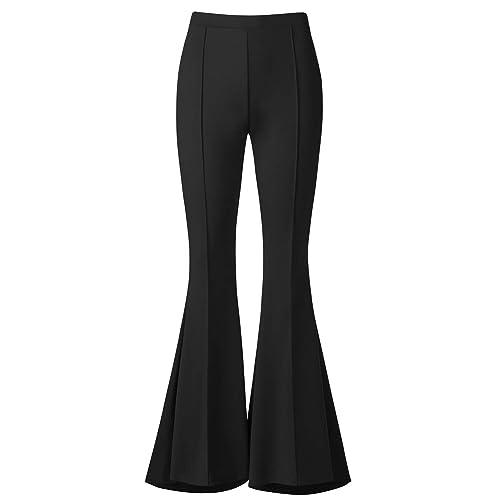 ab2cafa0c134d2 BaiShengGT Womens Comfy Soft High Waist Wide Flare Leg Palazzo Lounge Pants