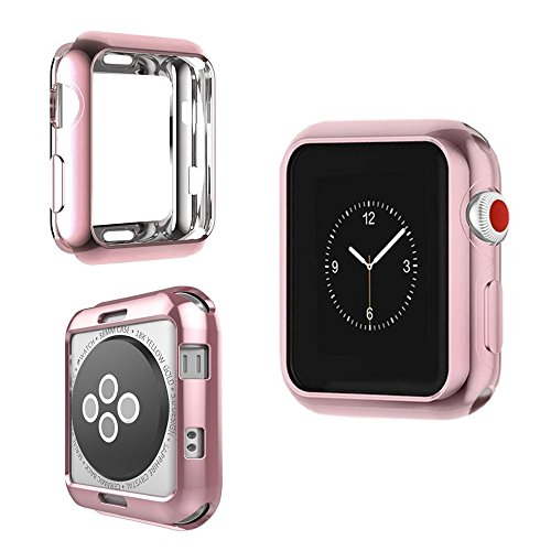IvyLife Cover Apple Watch 38mm - Pellicola Custodia per iWatch Serie 3/2 / 1 Hermès Edition Nike Cinturino Screen Protector Case Protettiva Ultra Sottile Morbido TPU Oro Rosa