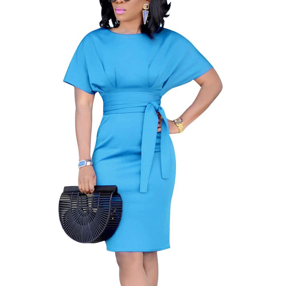 Available at Amazon: ECHOINE Women's Elegant Pencil Midi Dress Short Sleeve Party Cocktail Dresses with Belt