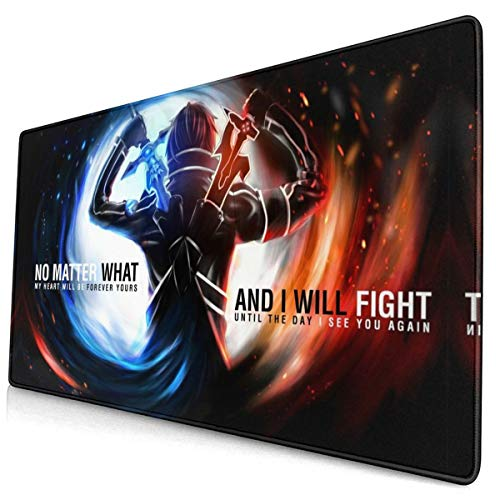 Computer Gaming Sword-Art Online Mouse Pad Mouse Mat Non-Slip Rubber Base Cool Mouse Pads for Computers Large Gaming (75Mmx40Mmx3Mm)