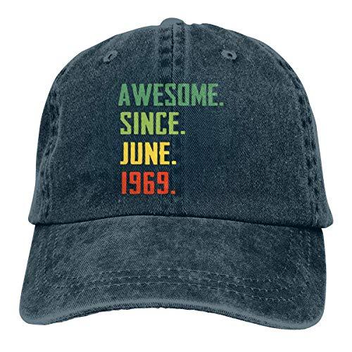 Yuanmeiju Gorra de Mezclilla Awesome Since June 1969 Unisex Vintage Washed Distressed Baseball Cap Twill Adjustable Dad Hat