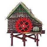 Fish Tank Paisajismo Decoración Neumática Airated Waterwheel Hut[Grande]
