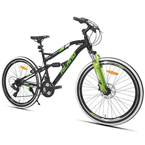 HILAND 26 Zoll vollgefedertes Mountainbike mit Scheibenbremse für Männer Frauen Jungen Mädchen, 21 Geschwindigkeiten Shimano-Antrieb, schwarz