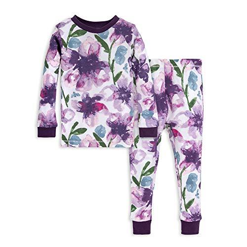 Burt's Bees Baby baby girls Pajamas, Tee and Pant 2-piece Pj Set, 100% Organic Cotton Pajama Set, Purple Watercolor Daylily, 3T US