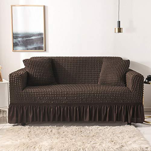 Couchbezug Sofabezug Stretch mit Rock, Stretchhussen für Sofas und Stühle Möbelschutz Waschbar Hochelastisch Strapazierfähig Seersucker Stoff
