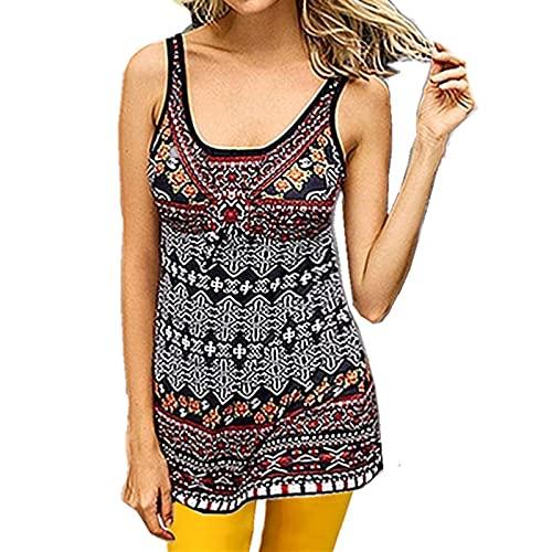 SLYZ Mujeres Europeas Y Americanas Moda De Verano Impresión Digital Cuello Redondo Sin Mangas Camiseta Chaleco Blusa Delgada