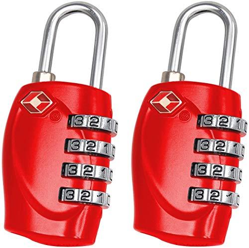 TRIXES Vorhängeschloss mit 4 Ziffern, TSA-Zahlenschloss für Gepäck, Koffer und Reise, 2 Stück, rot (Rot) - DD44