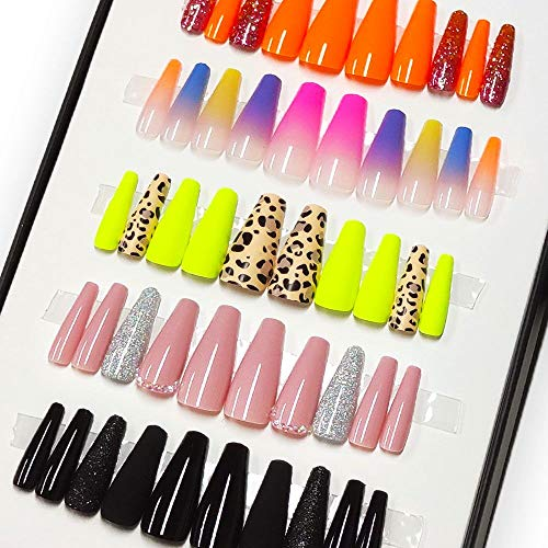 Lady Press on Nails Coffin False Nails Natural Full Nail Tip 5 Styles in 1 Box, Pink with Drill, White, Orange, Black Stitching and Cheetah