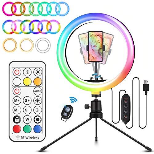 """ELEGIANT Aro de Luz Trípode LED, Anillo de Luz 26 Colores RGB de 10.2"""" 3 Modos de iluminación, Brillo Ajustable con Control Remoto Inalámbrico para Selfie Fotografía Youtube Maquillaje para Móvil"""