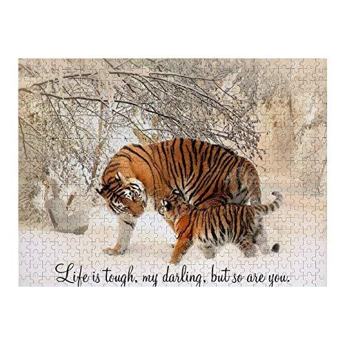 Hunnry Tigress and Cub Life is Tough My Darling Rompecabezas de 1000 Piezas para Adultos y familias, Rompecabezas clásico con Motivos Finos, colección de Arte, 50 x 75 cm