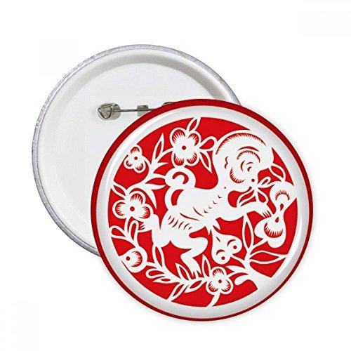 Paper-cut Singe Animal Chine zodiaque Art broches rondes badge Button Vêtements Décoration 5pcs Cadeau XL multicolore