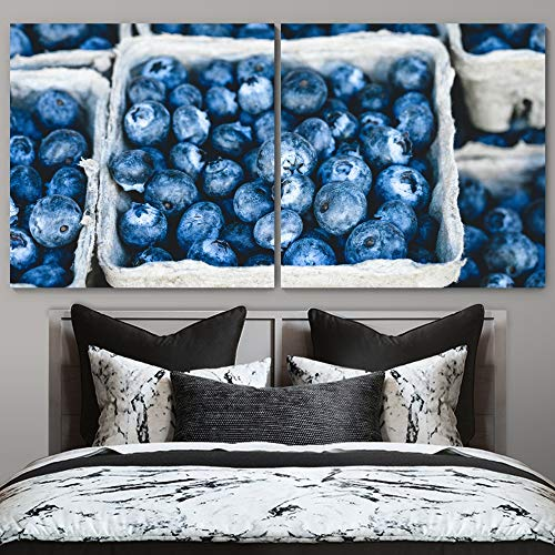 """bestdeal depot Blueberry 2 Panel Canvas Wall Art Prints for Living Room,Bedroom Ready to Hang - 12""""x12"""" x 2 Panels"""