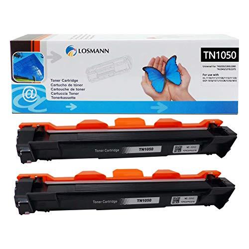 LOSMANN 2x Schwarz Toner kompatibel für Brother TN1050 TN-1050 für Brother HL-1201 1112E 1210W 1211W 1212W MFC-1810 1810E 1815 1910W 1911NW DCP-1510 1510E 1512 1512A 1512E 1601 1610W 1612 1612W 1616NW