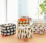 Ciaoed Kleine Baby Leinen Speicher Organizer Sets (Beige, Grau, Pink, Blau) Stoff Aufbewahrungsbox Organizer mit 2 Griffen auf beiden Seiten 20.5x17x15cm -Sets von 4 - 3