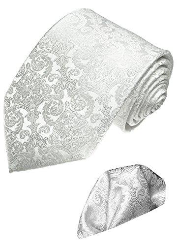 Lorenzo Cana - Marken 2 er Set aus 100% Seide - Festliche Krawatte mit Einstecktuch Hochzeit Paisley Barock Weiß - 2500701