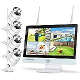 YESKAMO Überwachungskamera Set mit Flutlicht Aussen WLAN,3MP WiFi Kameras und 8CH 12 Zoll IPS Monitor mit 1TB HDD für die Hausalarmanlagen mit AI PIR Erkennung,30m Nachtsicht&Zweiweg Audio