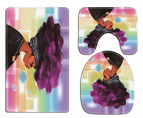 A.Monamour Traditional African Black Women with Purple Afro Hair Print Soft Flannel Cloth Washable Toilet Seat Covers Toilet Lid Covers Cushions Pads Skidproof Bath Mat Rug for Toilet Accessories