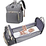 3 in 1 Diaper Bag Foldable Baby Bed, Travel Bassinet Diaper Bag Changing Station, Multifunctional Portable Backpack Large-Capacity Mommy Bag with USB Charging Port (Gray)