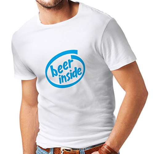 Männer T-Shirt Bier innen - für Bierliebhaber, lustiges Logo, humorvolles Geschenk, Kneipe, Bar, Party-Kleidung (Medium Weiß Blau)