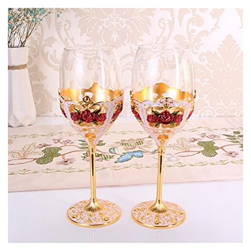 JIAYIN Toto Department Store Copa de Vino de Cristal sin Plomo Copa de Vino Tinto 2 PCS Copos Copa de Vino Conjunto de Regalo de Boda Bar Party Family Webware (Color : 08 Gold)