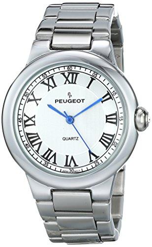 Peugeot Women's Round Silver Roman Numeral Link Bracelet Dress Watch 7086S