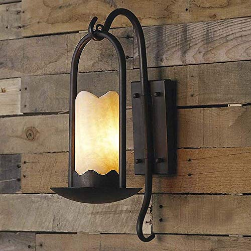 Xunmzl Aplique de pared industrial Vintage Accesorio de iluminación Loft Retro Lámpara de pared for interiores Luz cilíndrica Alabastro Sombra al lado Lámpara de luz Negro for bar Restaurante Escalera