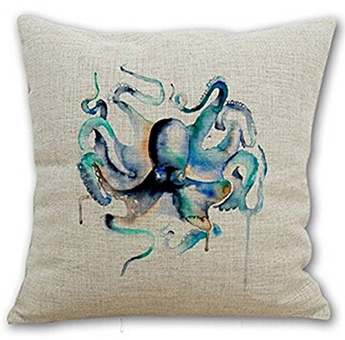 Queen's designer Cotton Linen Square Decorative Throw Pillow Case Cushion Cover Watercolor Teal Octopus 18'X18 ¡­