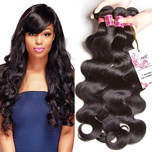 UNice Hair Icenu Series 8A Brazilian Body Wave Virgin Hair 3 Bundles 100% Human Hair Weave Extensions Natural Color 95-100g/piece (10 12 14)