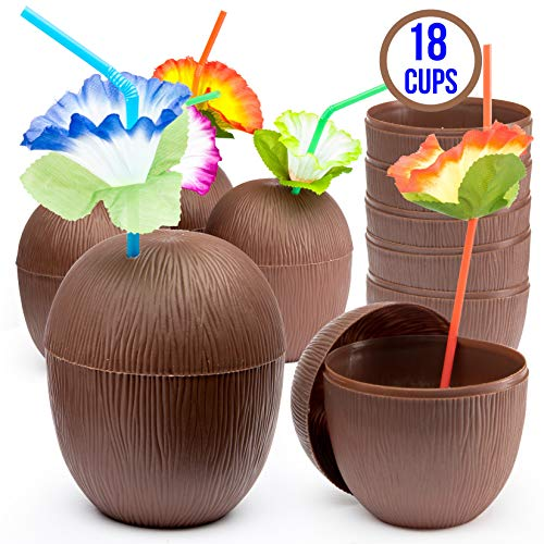 Prextex 18 Pack Coconut Cups for Hawaiian Luau Kids Party with Hibiscus Flower Straws - Tiki and Beach Theme Party Fun Drink or Decoration Cups (Improved Twist-Close Lids)