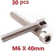 Do4U M6 x 40MM Socket Head Cap Screws, Allen Socket Drive, Din 912, Stainless Steel 304, Full Thread, Bright Finish, Machine Thread (M6x40,30pcs, Silver)