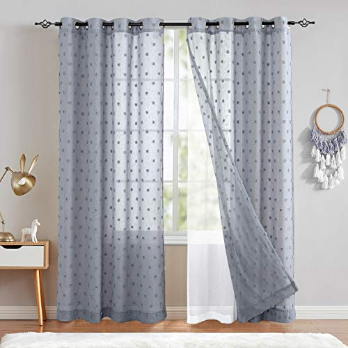 jinchan Blue Sheer Window Curtains Grommet Double Layers Embroidered with Pom Design Drapes for Living Room Bedroom 84 inch 2 Panels
